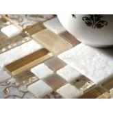 Мраморная мозайка+стекло