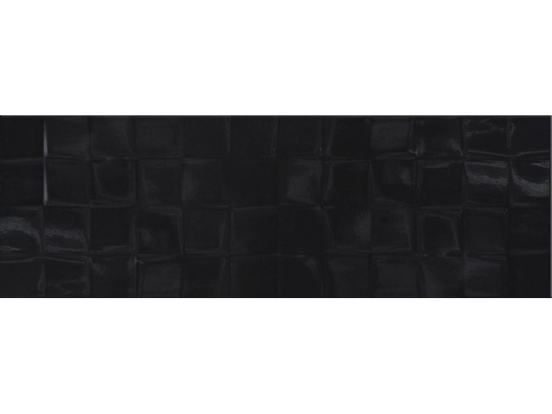 Плитка BLACK GLOSSY STR CUBES стена: фото - магазин Svit Keramiki