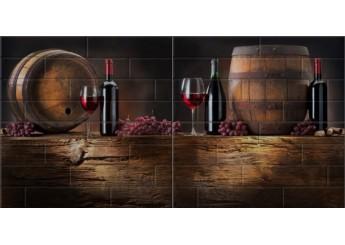 Береза Керамика БРИК вино кремовый декор-панно : фото - магазин Svit Keramiki
