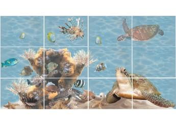 Плитка Береза Керамика ЛАЗУРЬ морской мир декор-панно из 12-ти шт.: фото - магазин Svit Keramiki