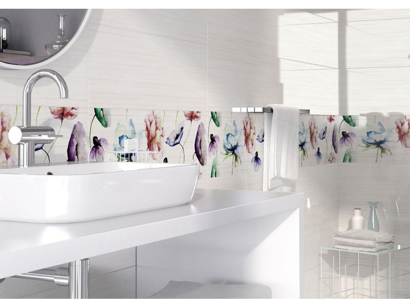 Плитка ELEGANT STRIPES INSERTO FLOWER декор: фото - магазин Svit Keramiki