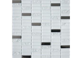 Мозаика Grand Kerama микс белый-белый колотый платина (1086): фото - магазин Svit Keramiki