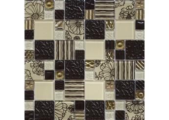 Мозаика Grand Kerama микс цветок шоколад (2168): фото - магазин Svit Keramiki