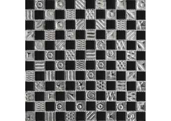 Мозаика Grand Kerama шахматка чорная-платина с рисунком (7169): фото - магазин Svit Keramiki