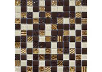 Мозаика Grand Kerama микс шоколад-охра-золото с рисунком (2172): фото - магазин Svit Keramiki
