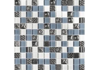 Мозаика Grand Kerama микс серый-белый-платина рисунок (2355): фото - магазин Svit Keramiki